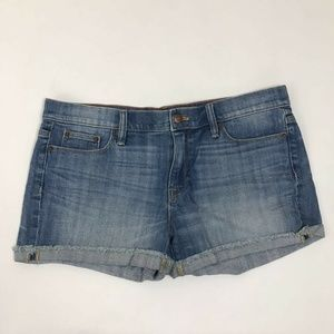 J Crew Jean Shorts Blue Frayed Cuffed Hem Sz 31